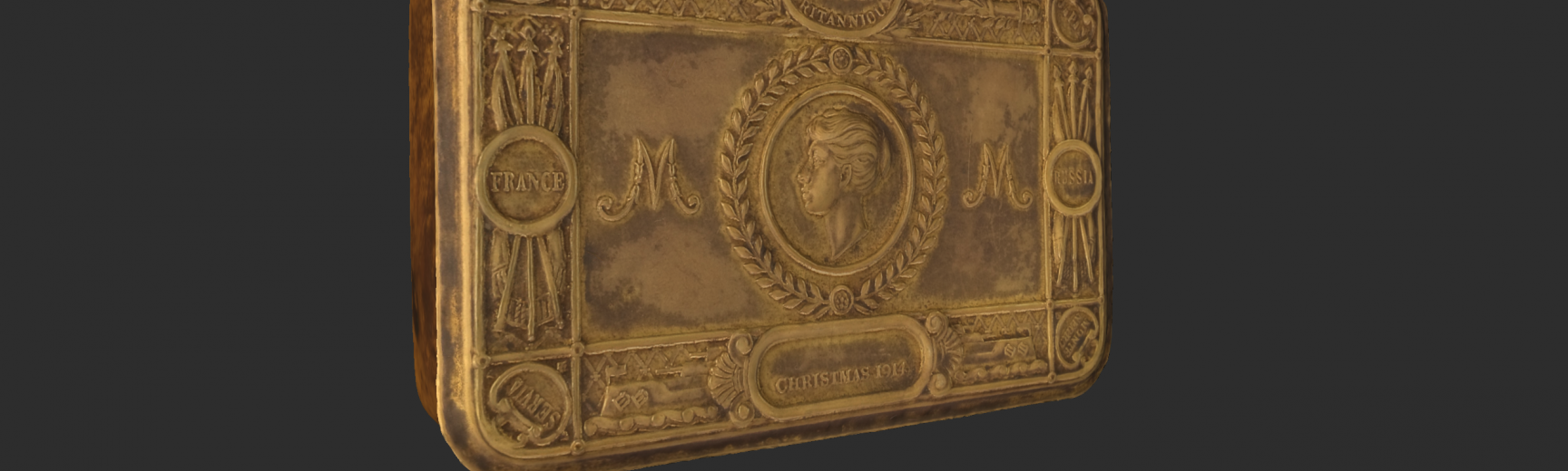 Screenshot of 3D model of the Princess Mary Tin Gift in Cabinet