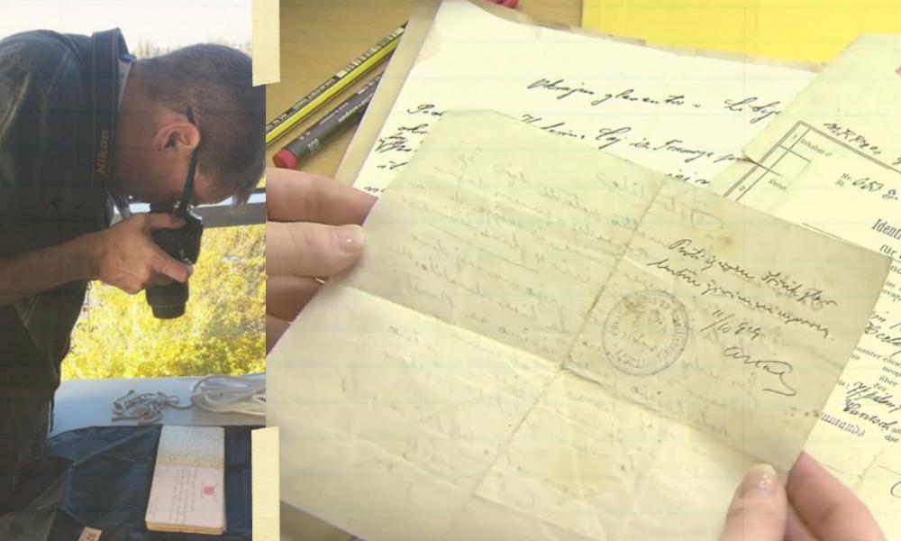 Man photographs a letter